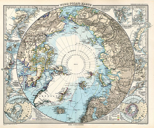 North Polar map Stielers Handatlas