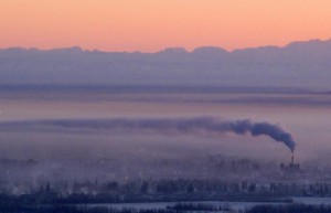 Fairbanks winter day temperature smoke pollution Alaska