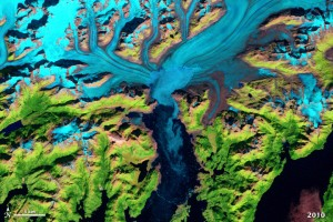 Columbia Glacier breakup satellite 2010