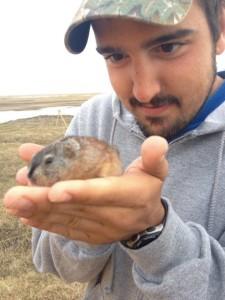 Alfredo Soto holds lemming