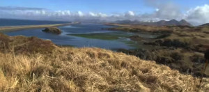 Kodiak Island grass bluff view bay