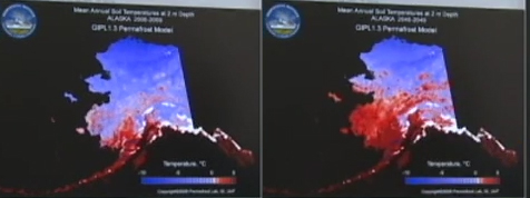 Sergey Marchenko shows FrontierScientists simulations of changing permafrost / UAFGI
